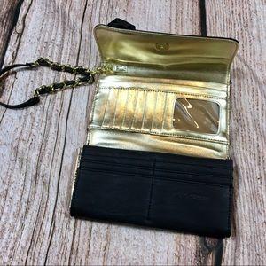 Steve Madden Bags - STEVE MADDEN Black & Gold Rose Wristlet